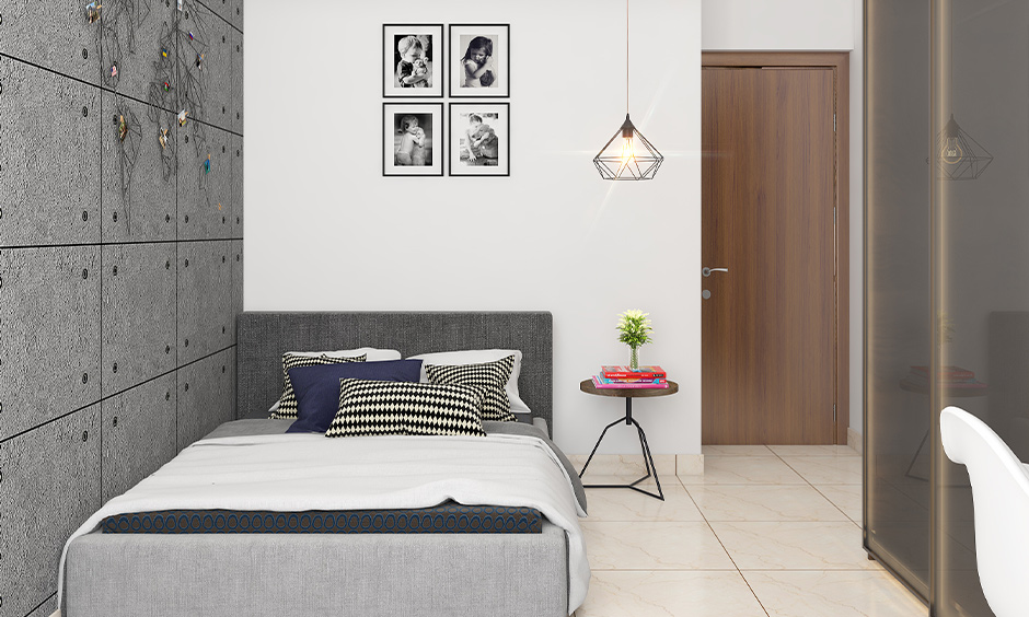 Customized grey and white bedroom walls with art