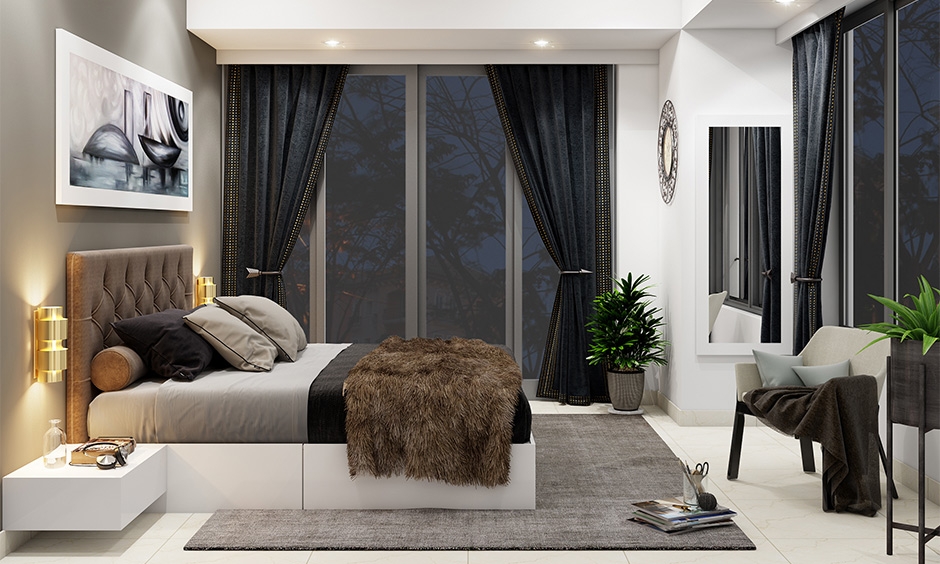 White and grey minimalist bedroom with green plants and french windows