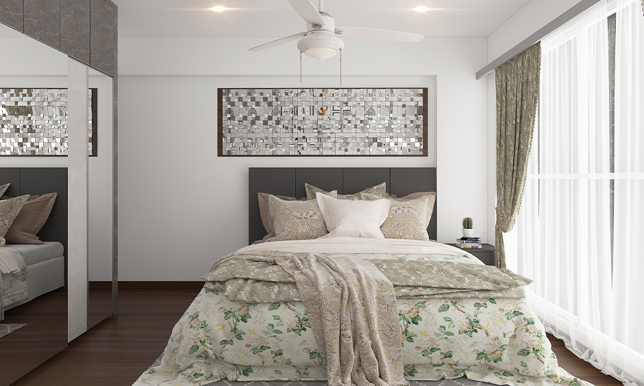Grey and white bedrooms images with mirror artwork on the wall