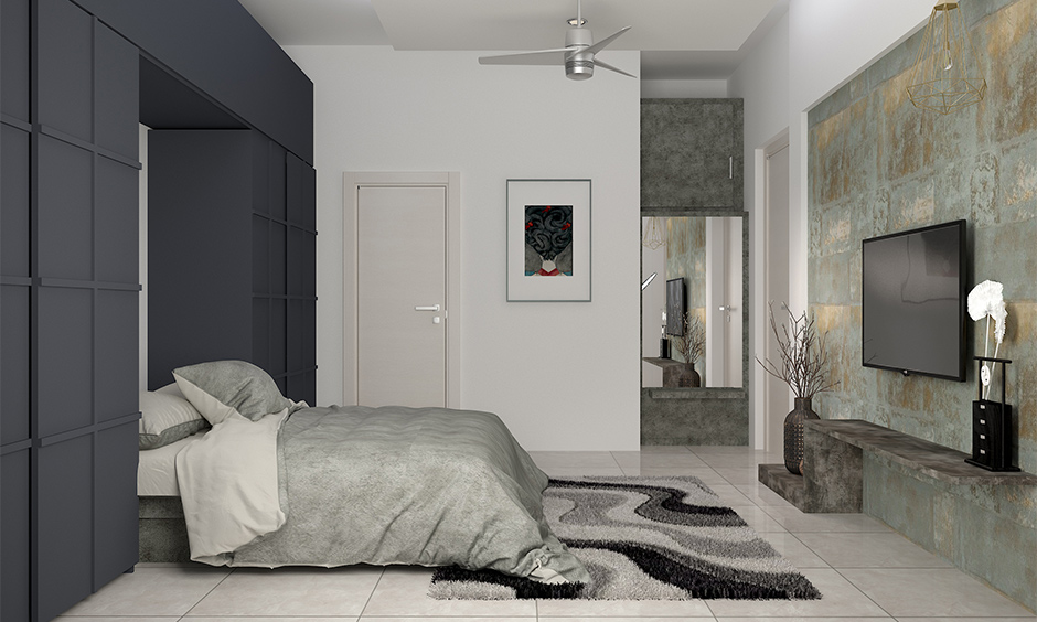Grey and white bedroom theme with different textures and whimsical painting
