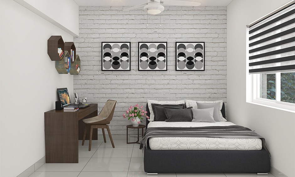Geometric designs with grey and white pictures for bedroom with hexagonal bookshelves