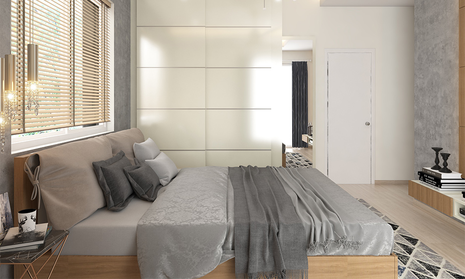 Good lighting with grey and white bedroom with amazing effects and shades