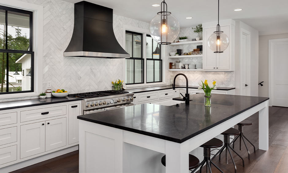 Designer hanging lights for the kitchen island