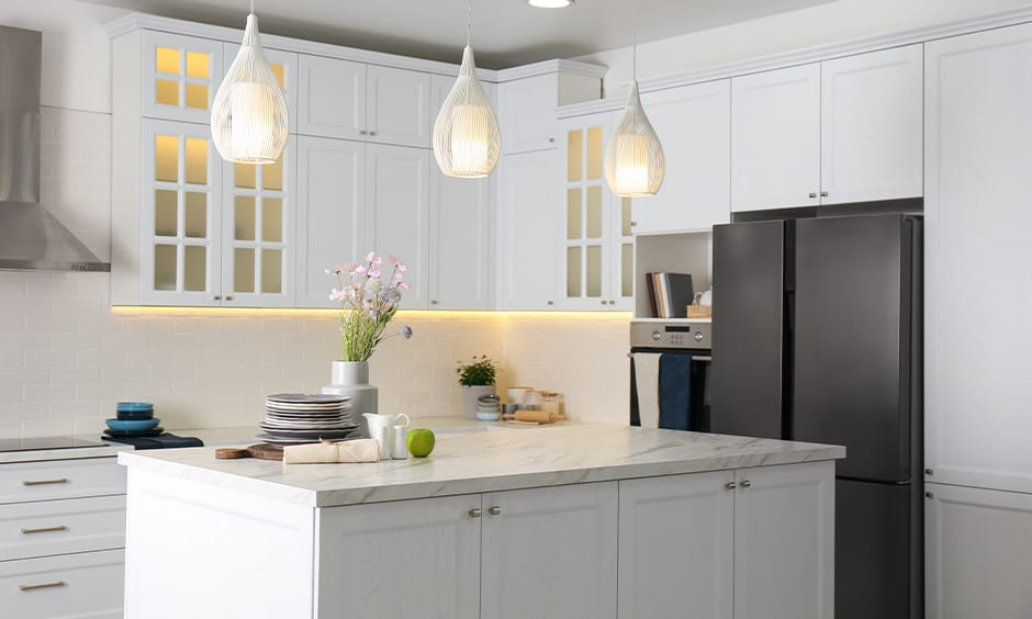 Kitchen island lighting with floating lantern lights