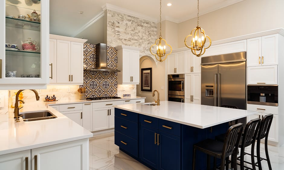 Golden kitchen island lights
