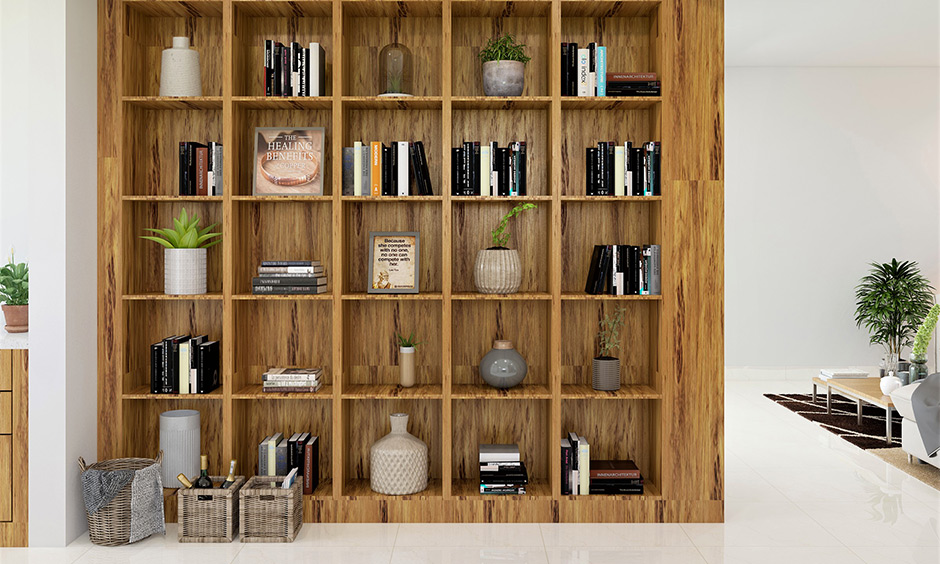 Built-in hall showcase furniture design with multiple equally spaced shelves and elegant woodwork.