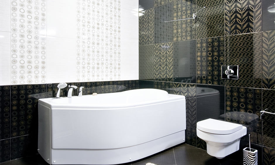 Black tiled bathroom design