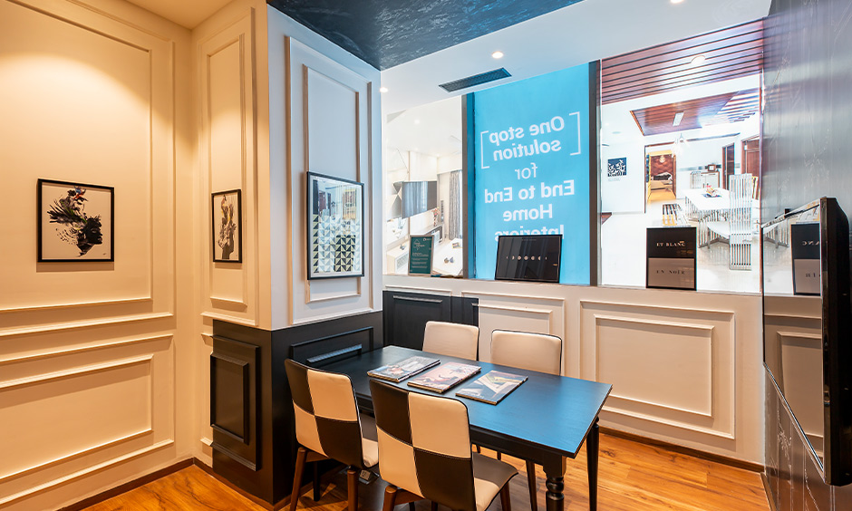 Design cafe experience centre, a french-style living room in black and white theme look luxurious.