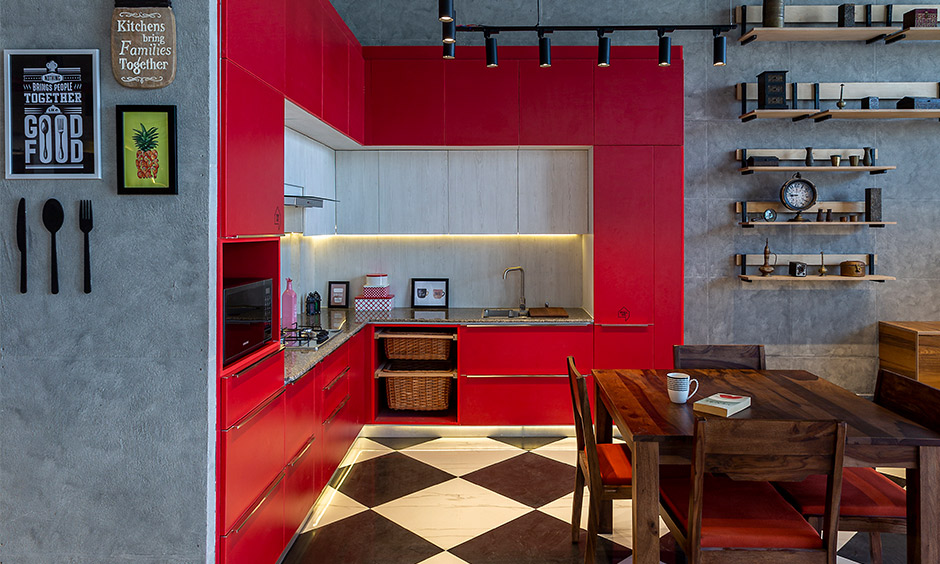 Design cafe a top interior designer in Whitefield designed modern urban kitchen with wall-to-wall and pantry unit.
