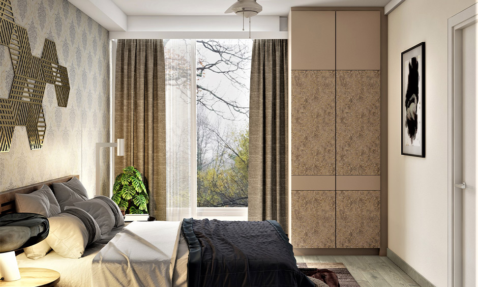 Bedroom wardrobe door decorated in beige floral patterns is decorative laminate for wardrobe.