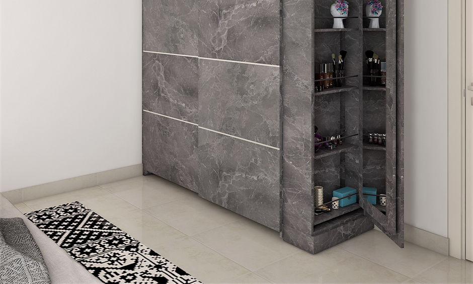 Home decor wardrobe, Grey coloured wardrobe designed with a secret side compartment in the bedroom.