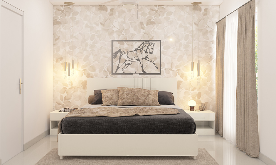 Bedroom with ceiling-mounted drop down led light bedside brings aesthetic to the area.