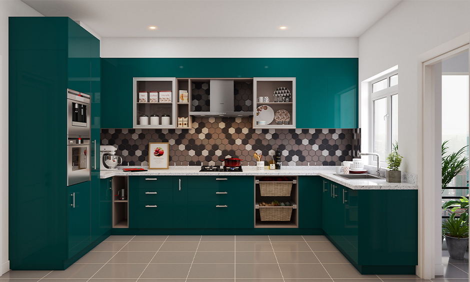 Different types of kitchen storage units with green laminate drawers, tall units and cabinets look adorable.