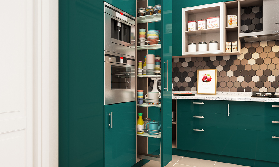 Tall oil pull-out unit designed to store oil jars, condiments and glass bottles is a cool kitchen storage idea.