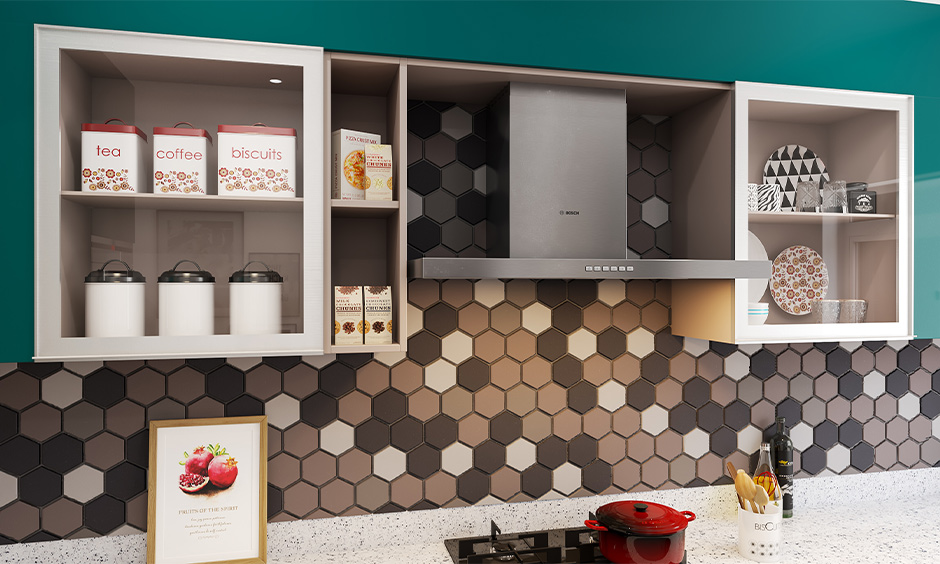 Kitchen cabinet storage solution with wall units fixed on the wall above the kitchen countertop for easy to access.