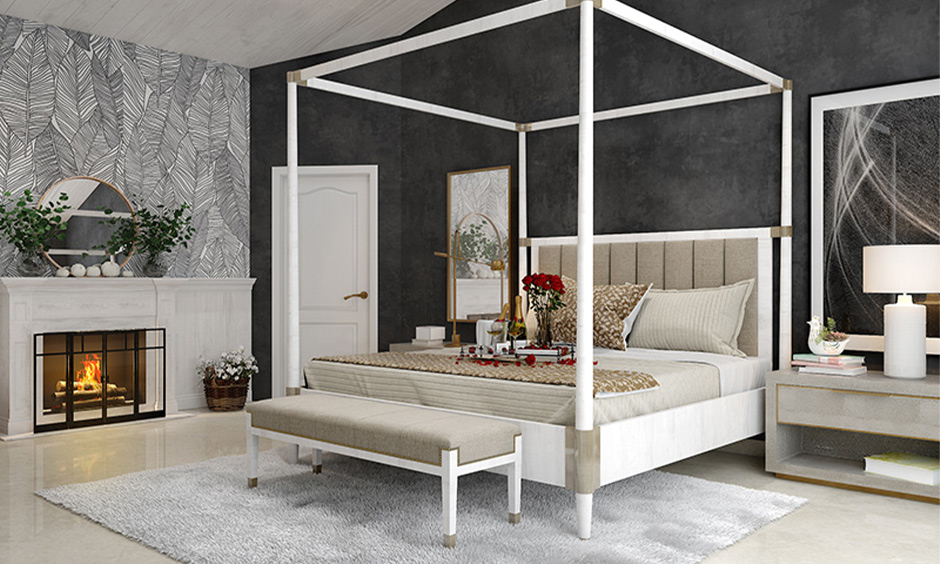 Dressing table and mirror in bedroom as per Vastu placed not directly facing the bed.