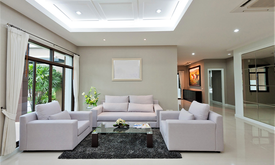 False ceiling pop in the drawing room with cove lights fitted into ceilings looks gorgeous.