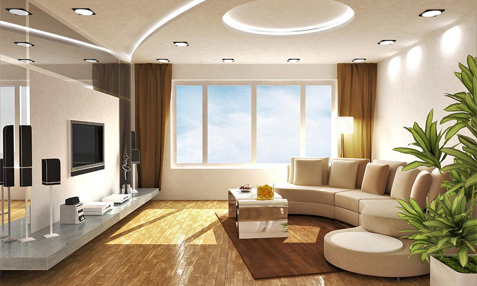Uniquely shaped the latest pop design for ceiling drawing room blends well with wooden flooring and looks bold.