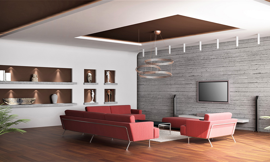 Flows into the sidewall pop design for drawing room with centre chandelier lighting looks modern