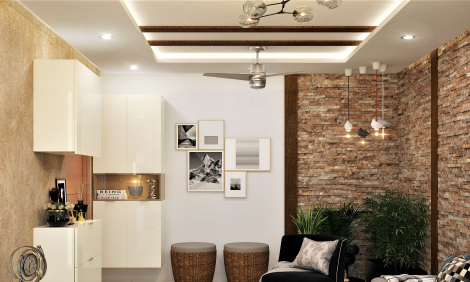 Rectangular POP ceiling with two wooden panels in between is a minimalistic and airier vibe pop design in the drawing-room.