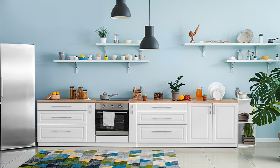 Modern kitchen paint colours ideas, one wall kitchen in sky blue and white combination brings refreshing.
