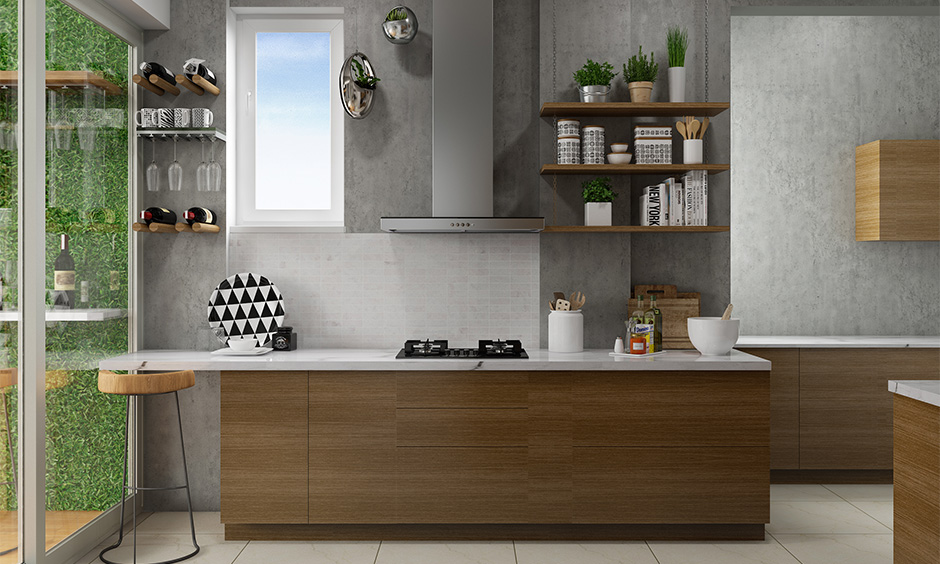 Modern kitchen wall colors in white and grey with wooden cabinets look sleek.
