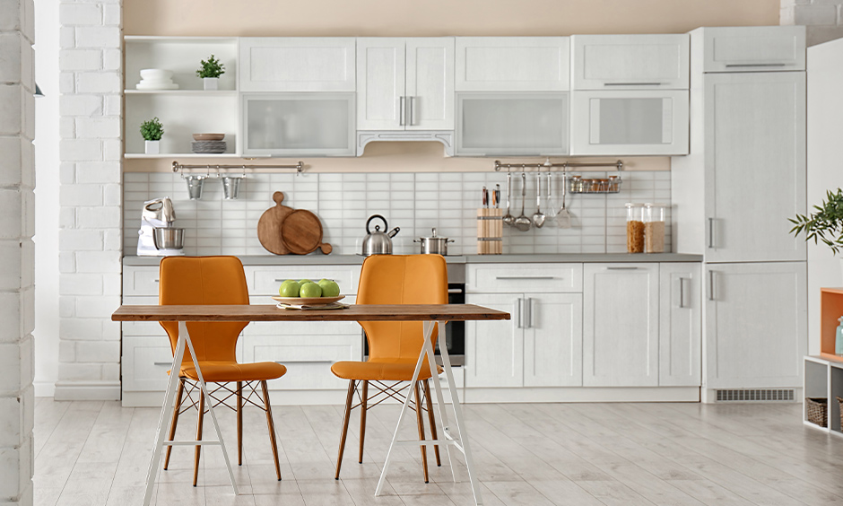 Modern kitchen color ideas, white and pink kitchen colours combination brings elegance to the area.