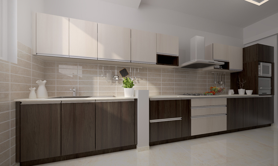 Cream modern kitchen wall tiles design in the minimalist one-wall kitchen with the elegant look.