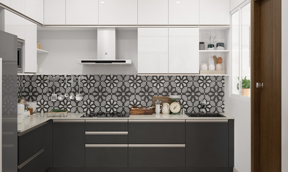 Backsplash modern kitchen tiles with printed patterns in black and white tones lends vibrant to the area.