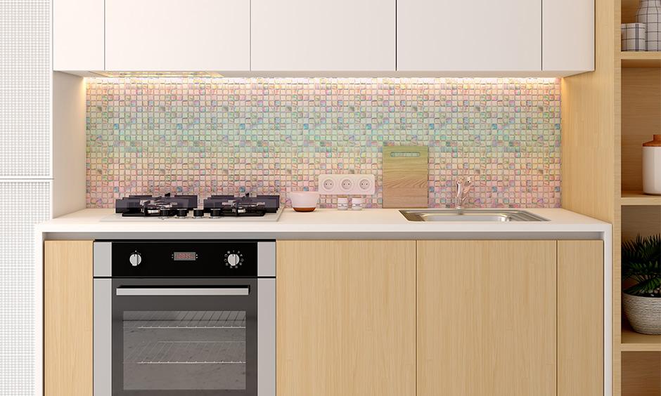 Modern kitchen wall tiles, the kitchen has iridescent backsplash tiles design.