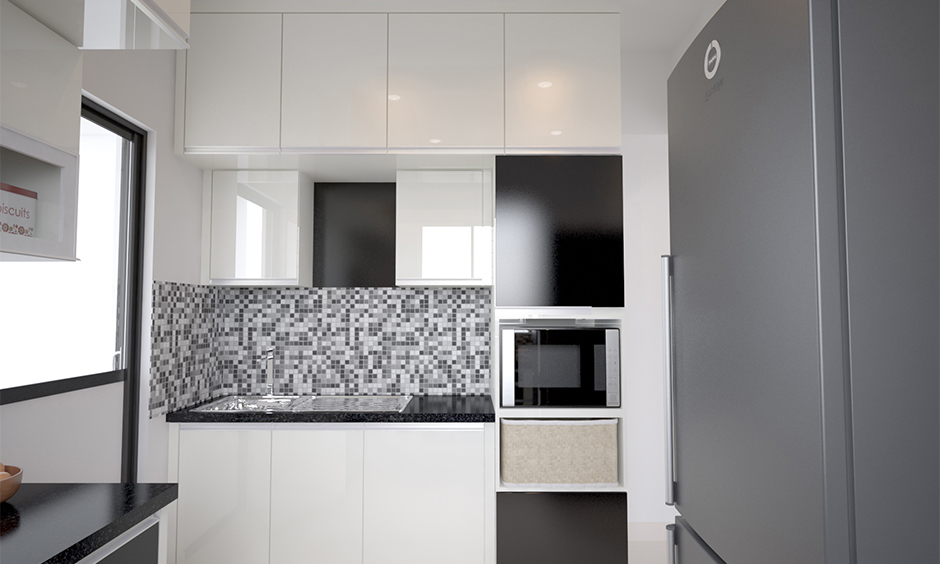 Backsplash modern kitchen wall tiles texture in grey and white colour look beautiful.