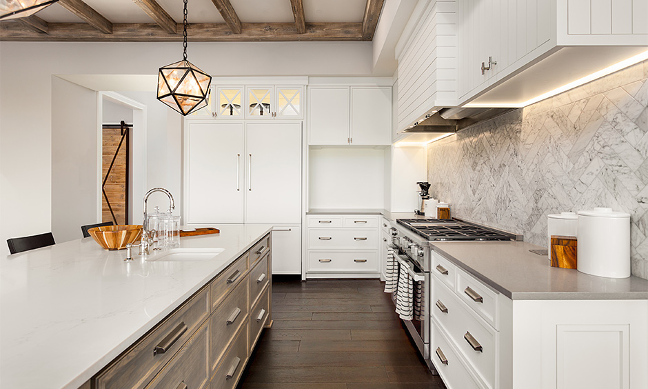 Backsplash modern kitchen tiles texture with marble effect in the white island kitchen look aesthetic.