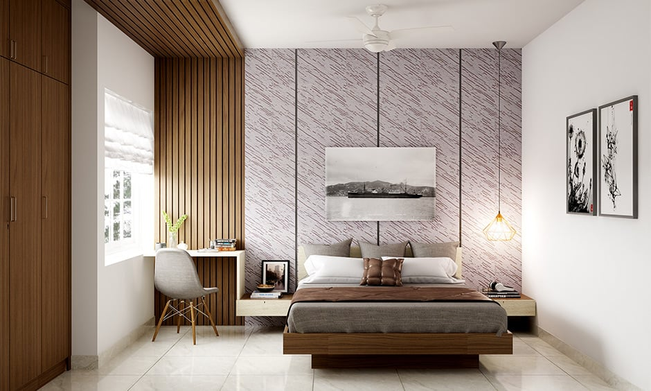 Creative modern bedroom decor with natural light with muted base colours like white and brown
