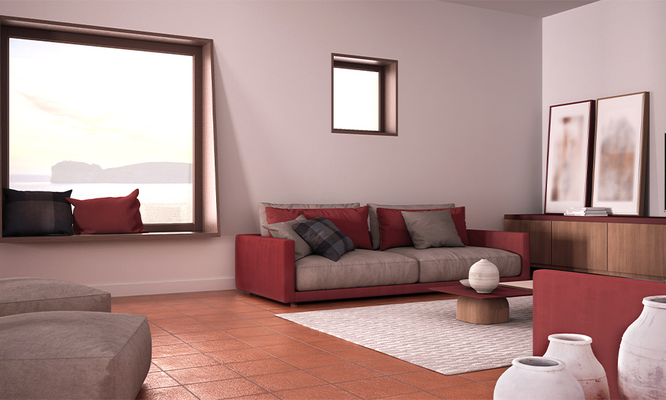 Brownish-red furniture in living room adds soothing and natural.