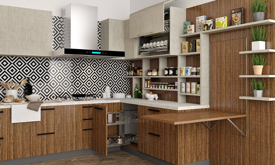 Custom kitchen pantry cabinet with pull-out shelves in brown lamination look classy.