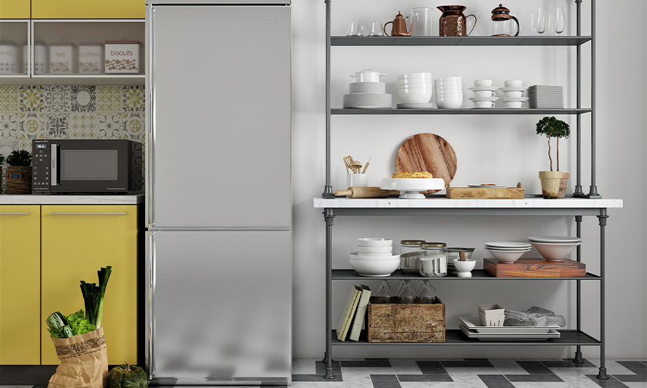Minimalist designed freestanding kitchen pantry cabinet with open shelves.
