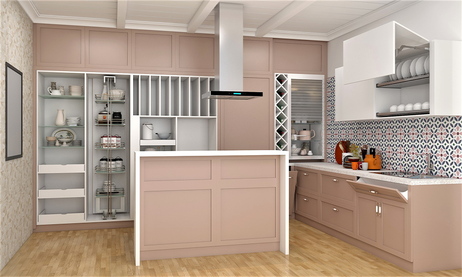 Island kitchen pantry cabinet with a combination of open shelves, slide-out drawers and pull-up cabinets.