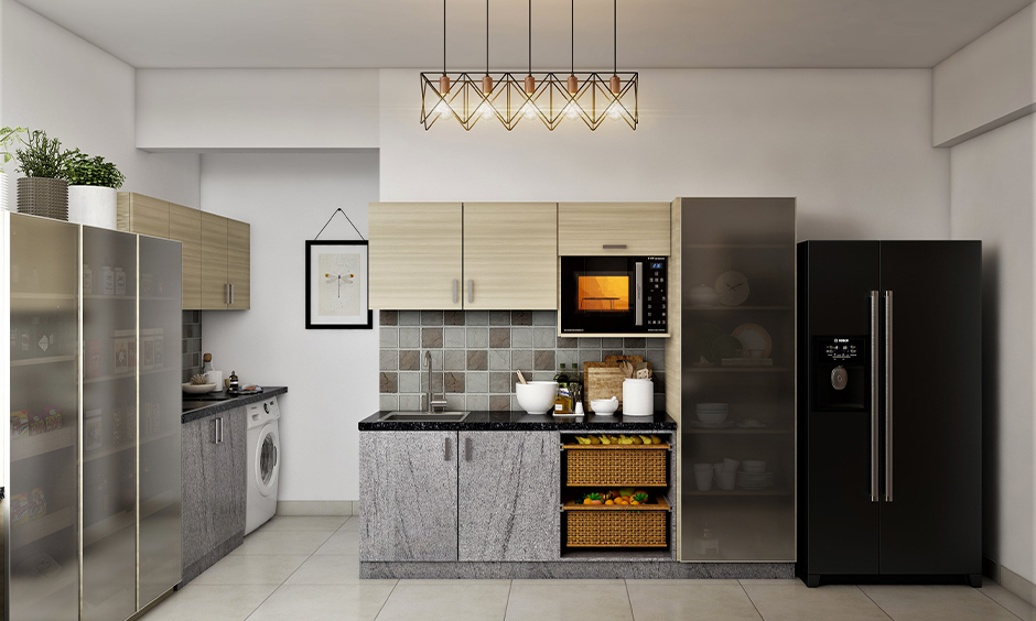 Kitchen cabinet pantry units with sliding translucent glass doors give a sophisticated look.