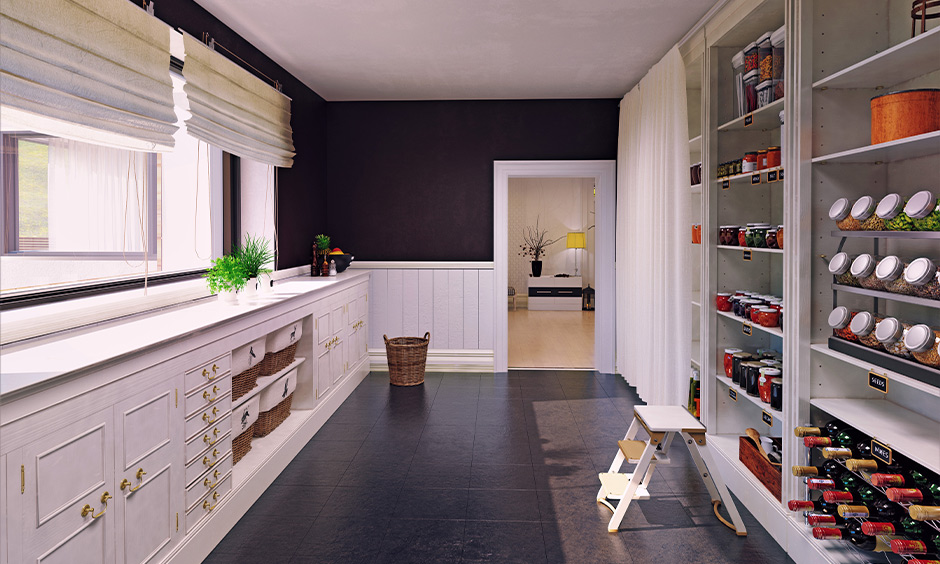 Kitchen pantry cabinet India, parallel kitchen pantry with multiple open shelves made from wood brings a classic look.