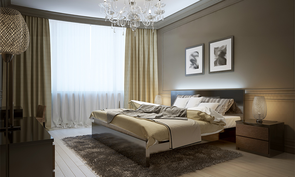 Off white curtain in the bedroom with brown and shade of beige colour combination gives charm to space.