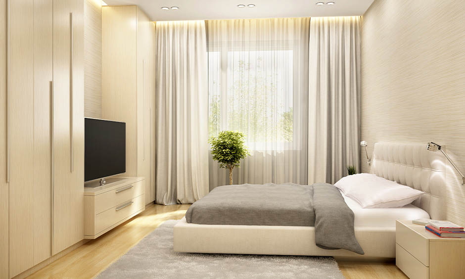 White curtain ideas for bedroom long drapes white pear curtain with a grey colour combination transforms the space.