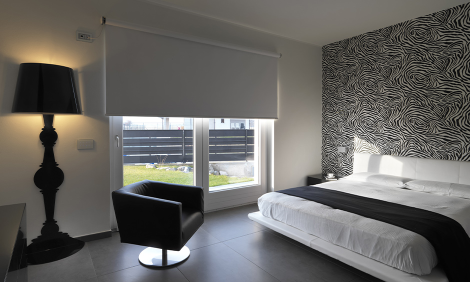 Master white bedroom curtain designed like a projector screen for big windows looks modern.