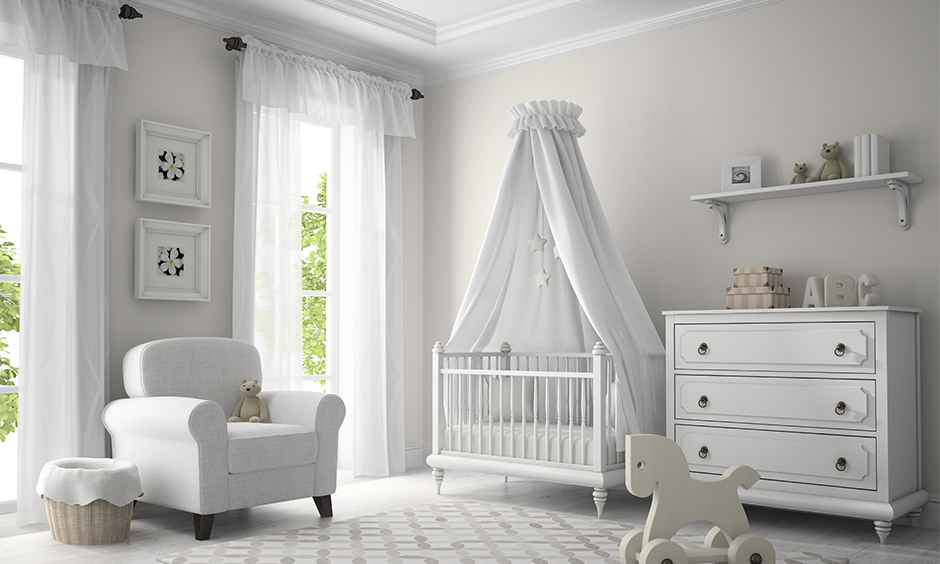 Kids' bedroom curtains for white walls with sheer design and tiny details are exciting and fun.