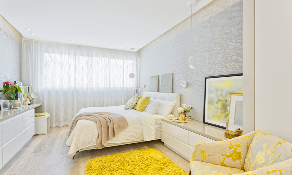 Full length white sheer curtains for bedroom with texture beautifully designed.