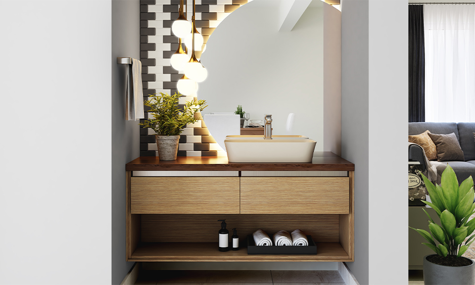 Cream coloured wash basin India with storage stands out and looks modern.