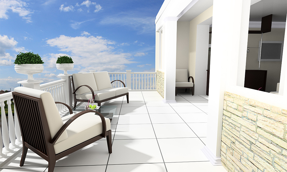 White and cream balcony colour with walls which look magical
