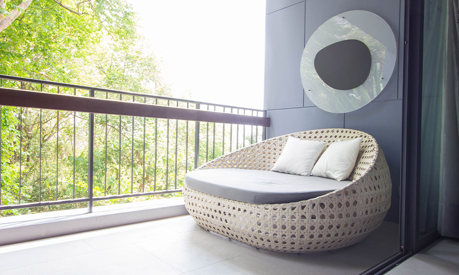 Grey and black balcony colour combination which brings more sheen and elegance