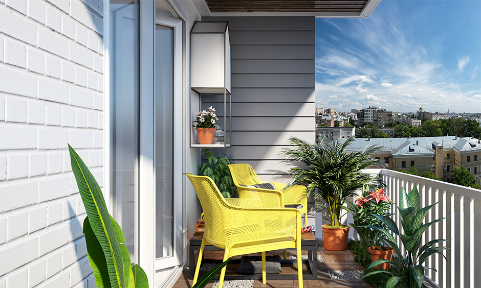 The lively radiant pantone color of the year in yellow chairs and grey on the walls