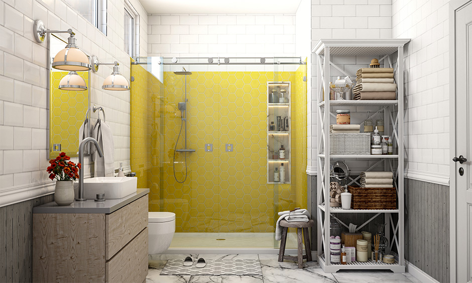 Classic yellow and grey bathroom design with pantone color of the year