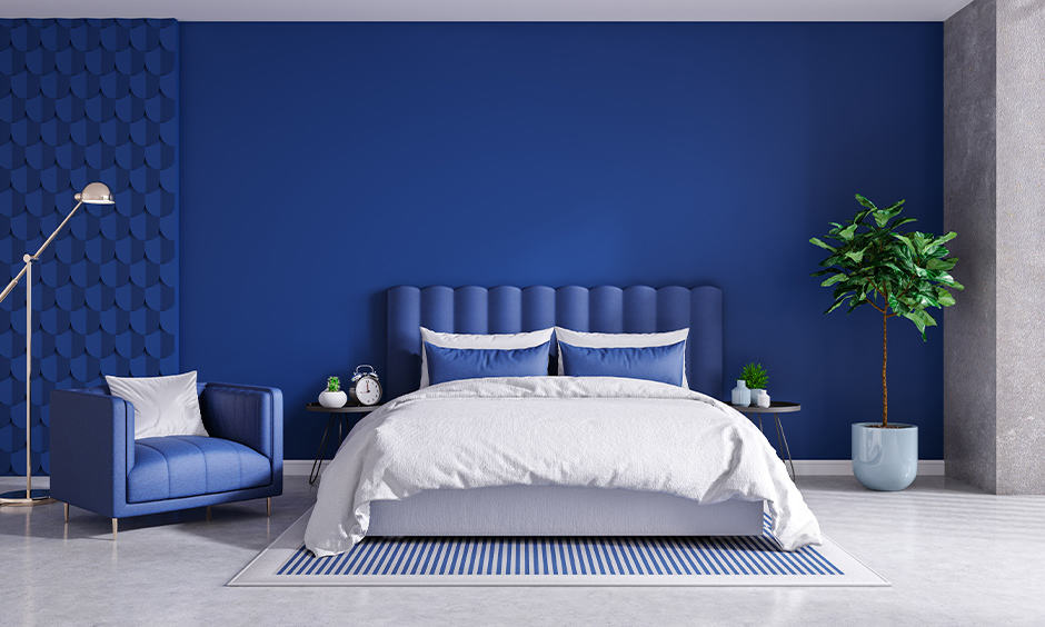 Modern blue and white bedroom design ideas